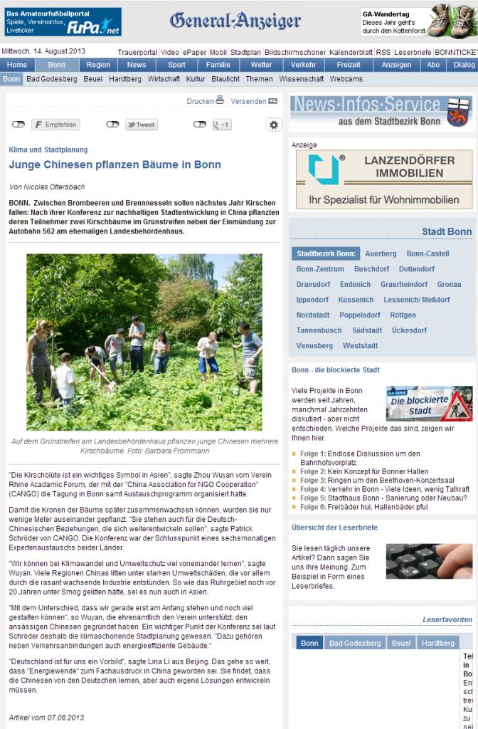Klima und Stadtplanung--Junge Chinesen pflanzen B-ume in Bonn - GA-Bonn